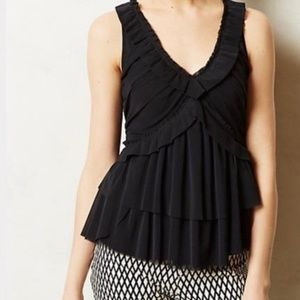 Anthropologie Deletta Amaris Tiered Black Mesh Top